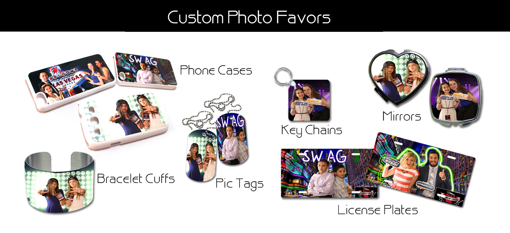 las vegas photo booth photo favors key chains phone cases license plates dog tags ID cards