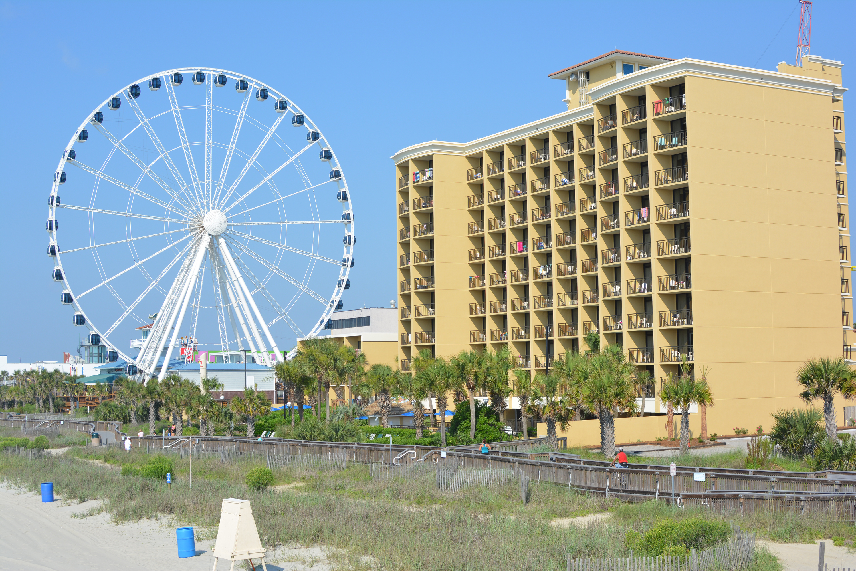 Holiday Inn at the Pavilion view from Pier 14 - Sky wheel & beach
