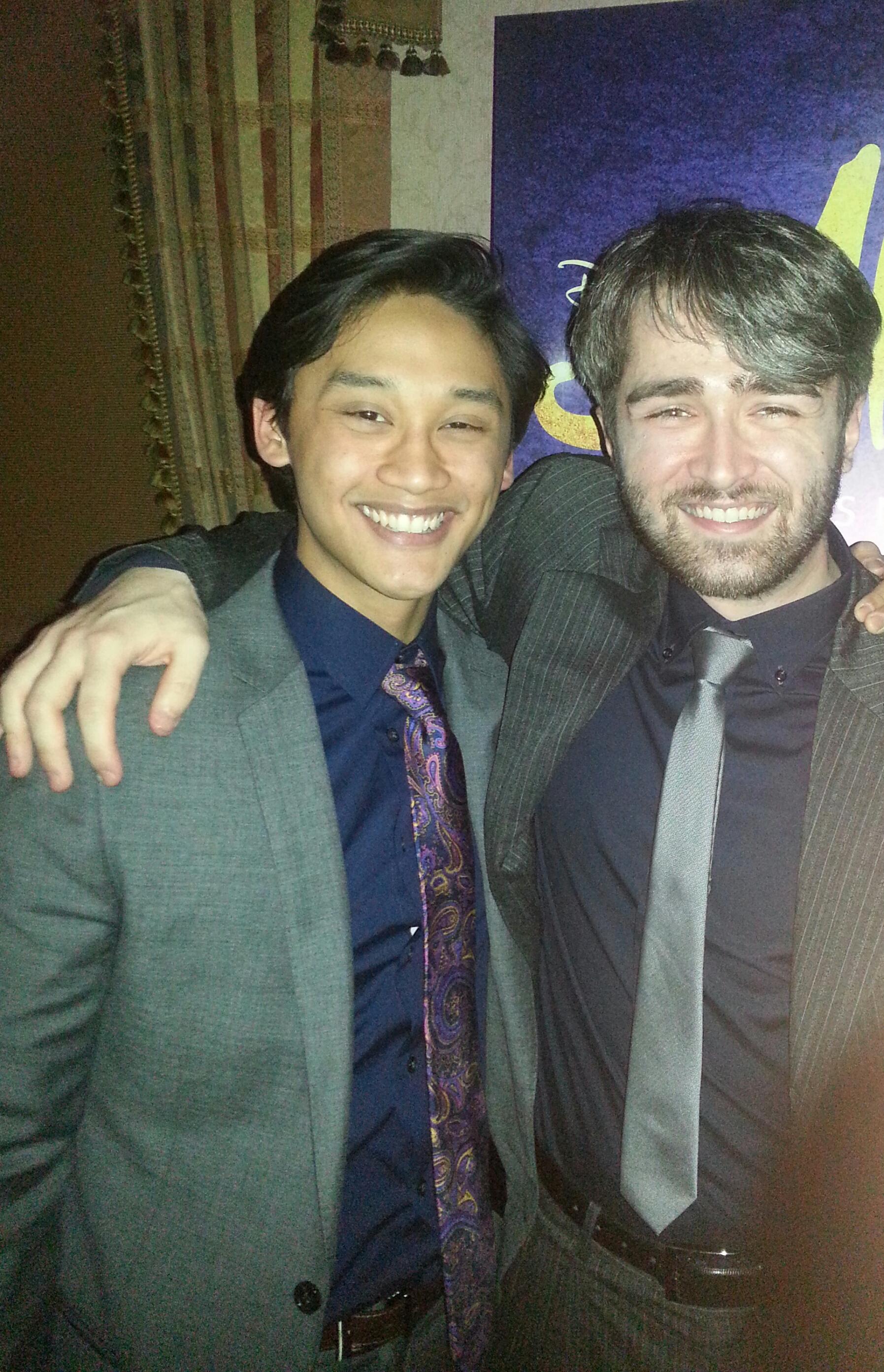 Joshua Dela Cruz and Mitch at the Aladdin Broadway Premiere Party