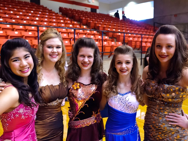 (from left to right), Senior Twirlers    Isabel Obias and Catherine Potter from TWHS, TCU Feature Twirler Kristin Baker, and TWCP    Feature Twirlers Allie Pellerito and Lindsay Richards pose for a picture at the 2013 Southwest    Region Miss Majorette and Twirling Champions held in Ft Worth, Texas.