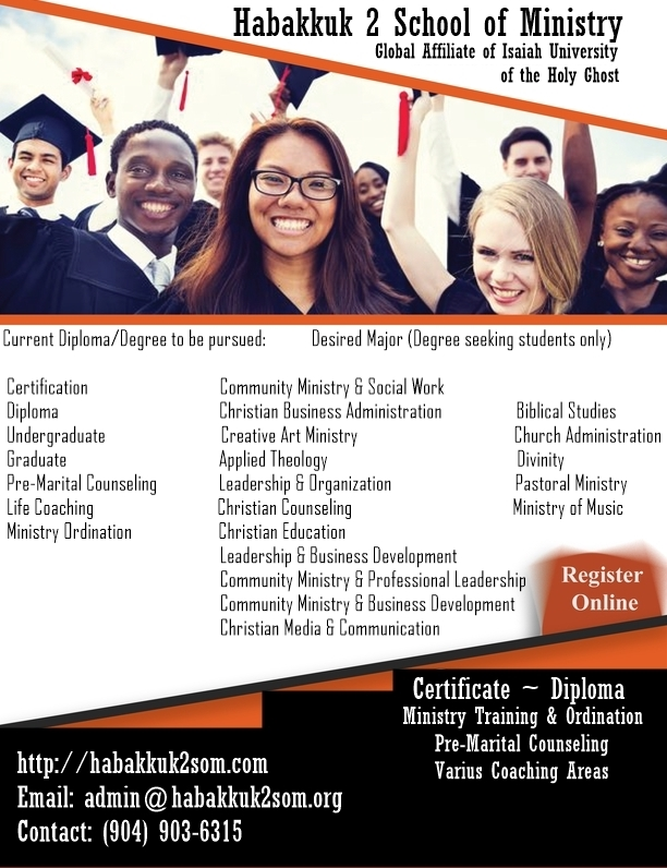 LifesReDesign Ministry Education Division Habakkuk 2 School of Ministry Online, Virtual and Live Streamed