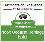 Trip Advisor Certificate of Excellence award for Nooit Gedacht