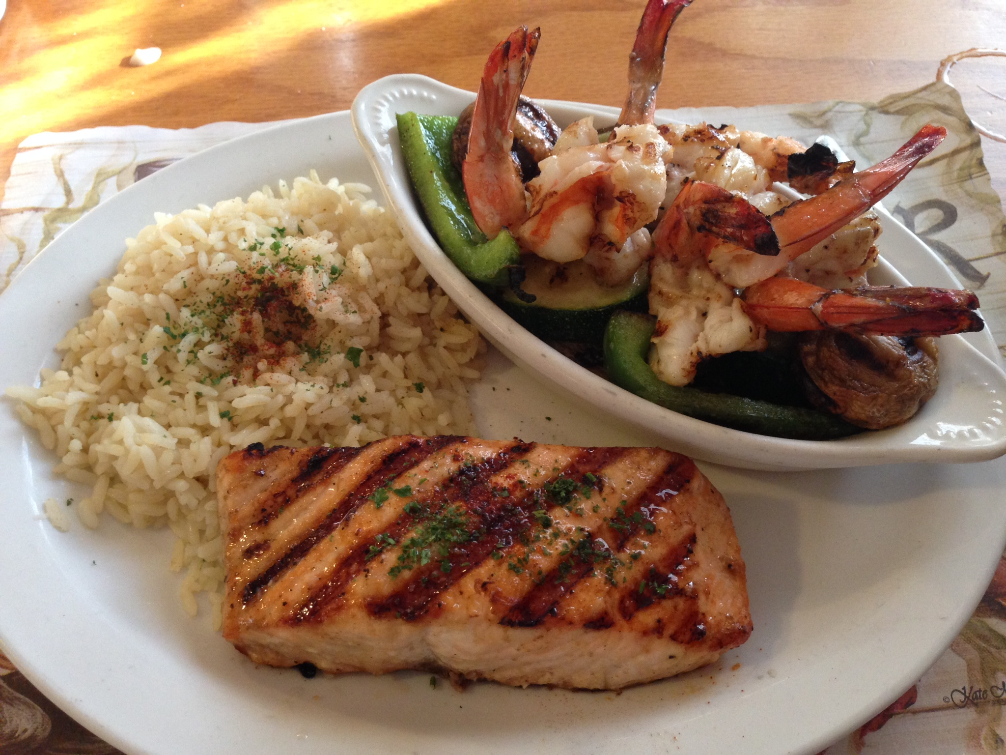 Charbroiled Salmon and Prawns