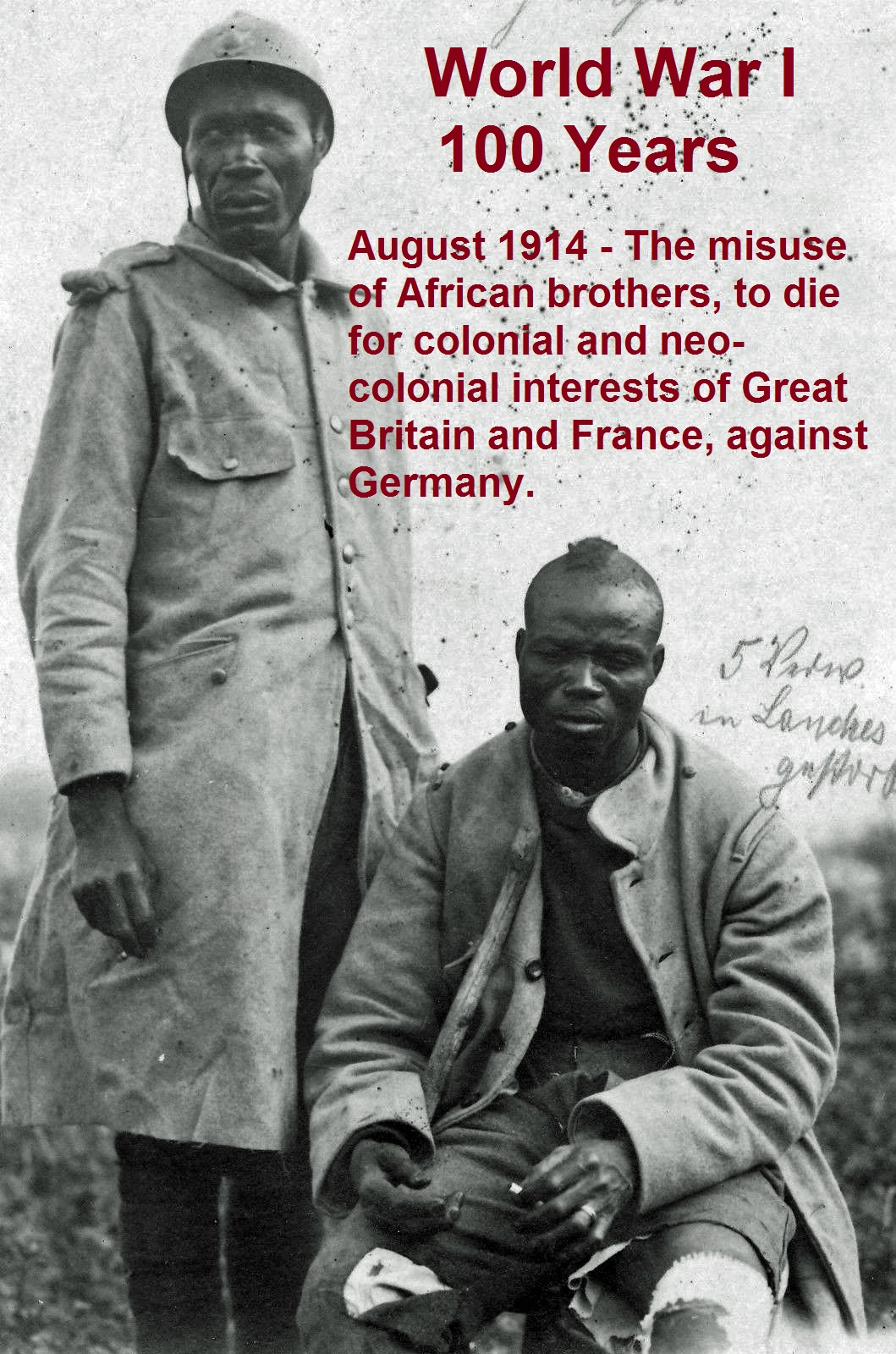 African (French) prisoners of war by German soldiers in VERDUN (France)