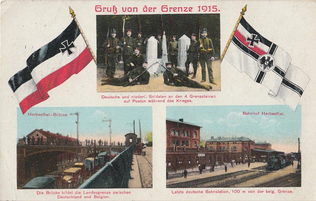 AK-Gruss-von-der-Grenze-1915-Deutschland-Belgien-Herbesthal-Brucke-Bahnhof-1