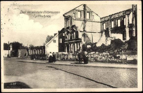 Ak Eydtkuhnen Ostpreußen, Verwüstete Gebäude, Ruinen