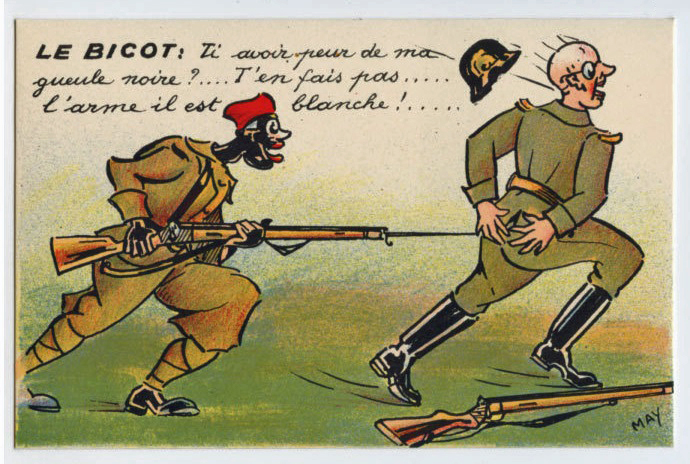Black Soldier kick German Butt WWI ww1 war Anti Nazi original 1917s postcard-edi