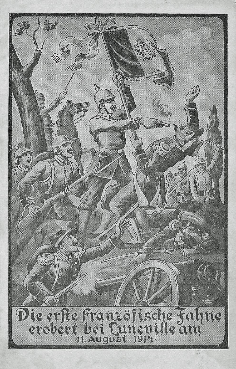 Die-erste-franzosische-Fahne-erobert-bei-LUNEVILLE-am-11-August-1914
