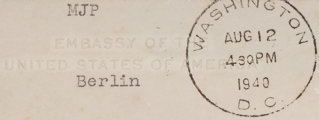 Eine Brief der USA Botschaft Berlin - an die =Peabody State Bank in Kansas= (VSA) - 1940 - Sehr Seltenes WK 2 - Document  - 3
