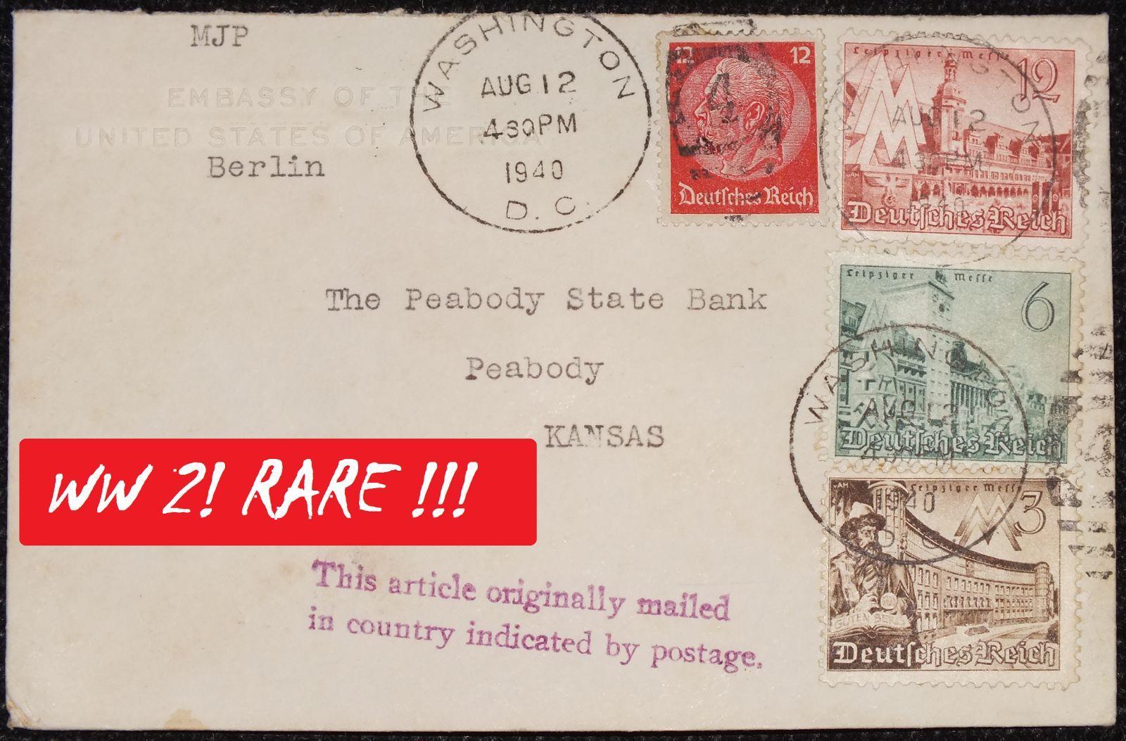 Eine Brief der USA Botschaft Berlin - an die =Peabody State Bank in Kansas= (VSA) - 1940 - Sehr Seltenes WK 2 - Document  - 1