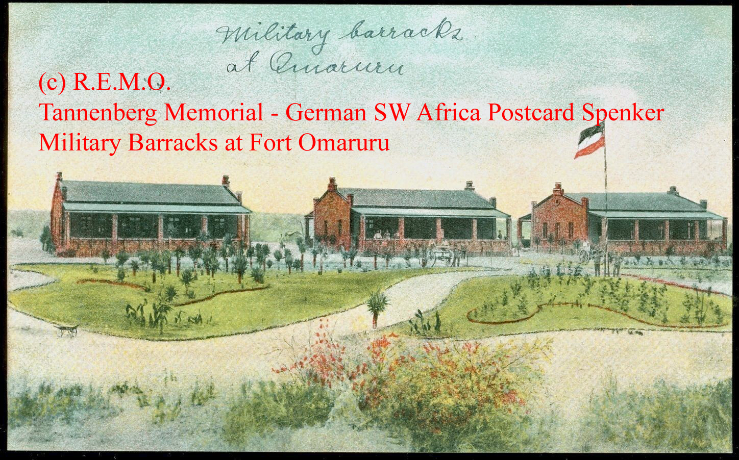 German SW Africa Postcard Spenker Military Barracks at Fort Omaruru