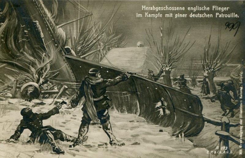 Herabgeschossener Englischer Flieger im Kampf mit Deutschen 1915 Mühlhausen