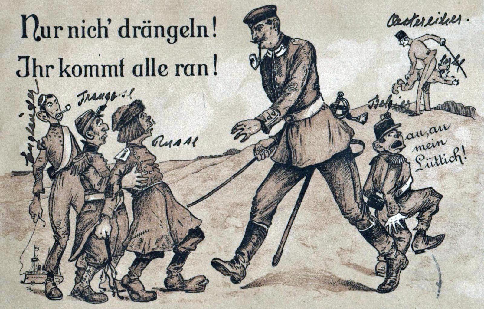 Nur Nicht Draengeln! Ihr kommt Alle dran! 1914 Postkarte nach der Tannenberg-Schlacht im August 1914
