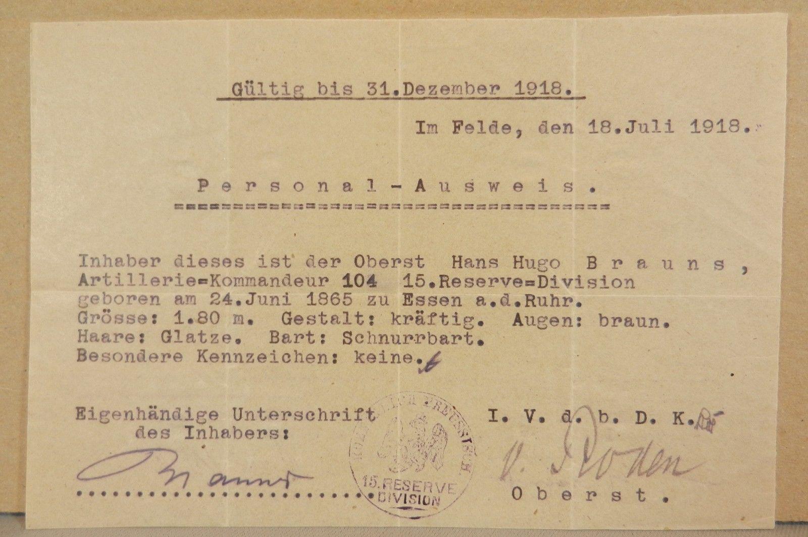 ersonalausweis-Ausweis-Artillerie-Kommandeur-104-15-Reserve-Division-1918-