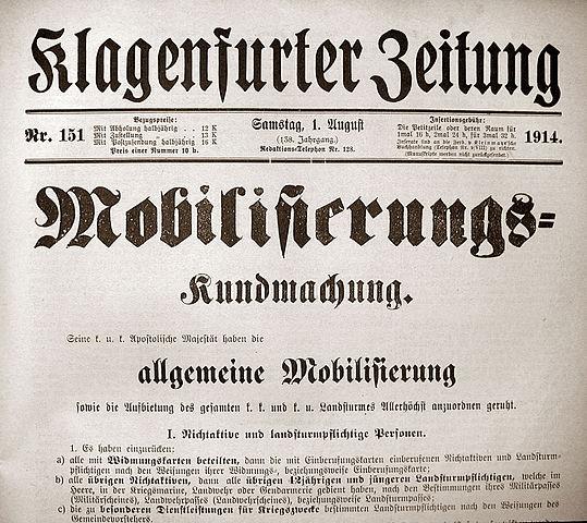 Oestereichische Zeitung vom 1. August 1914, zur Mobilmachung