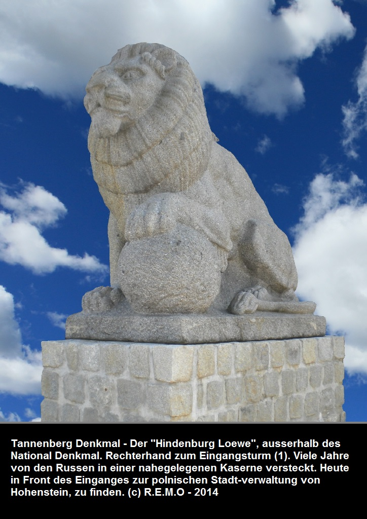 Tannenberg - sculpted lion, the lion of Paul von Hindenburgs troups