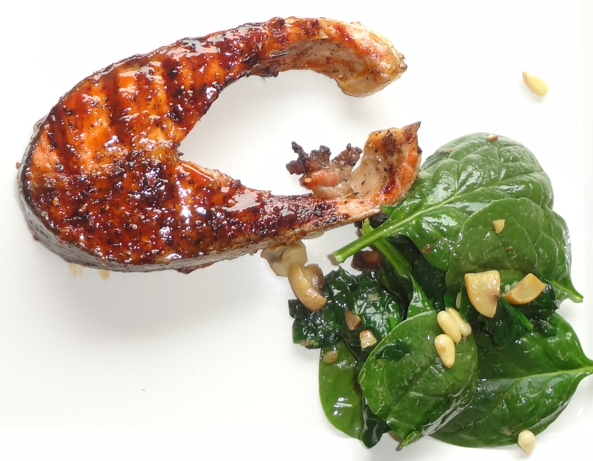 BBQ Salmon & Hot Spinach Salad