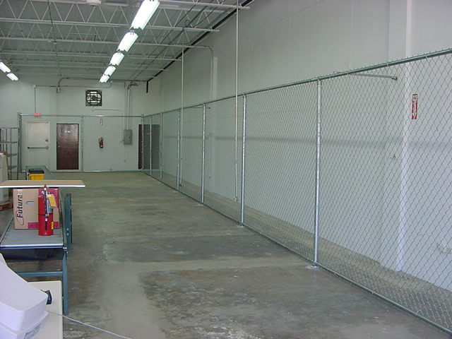 Warehouse chain link fence