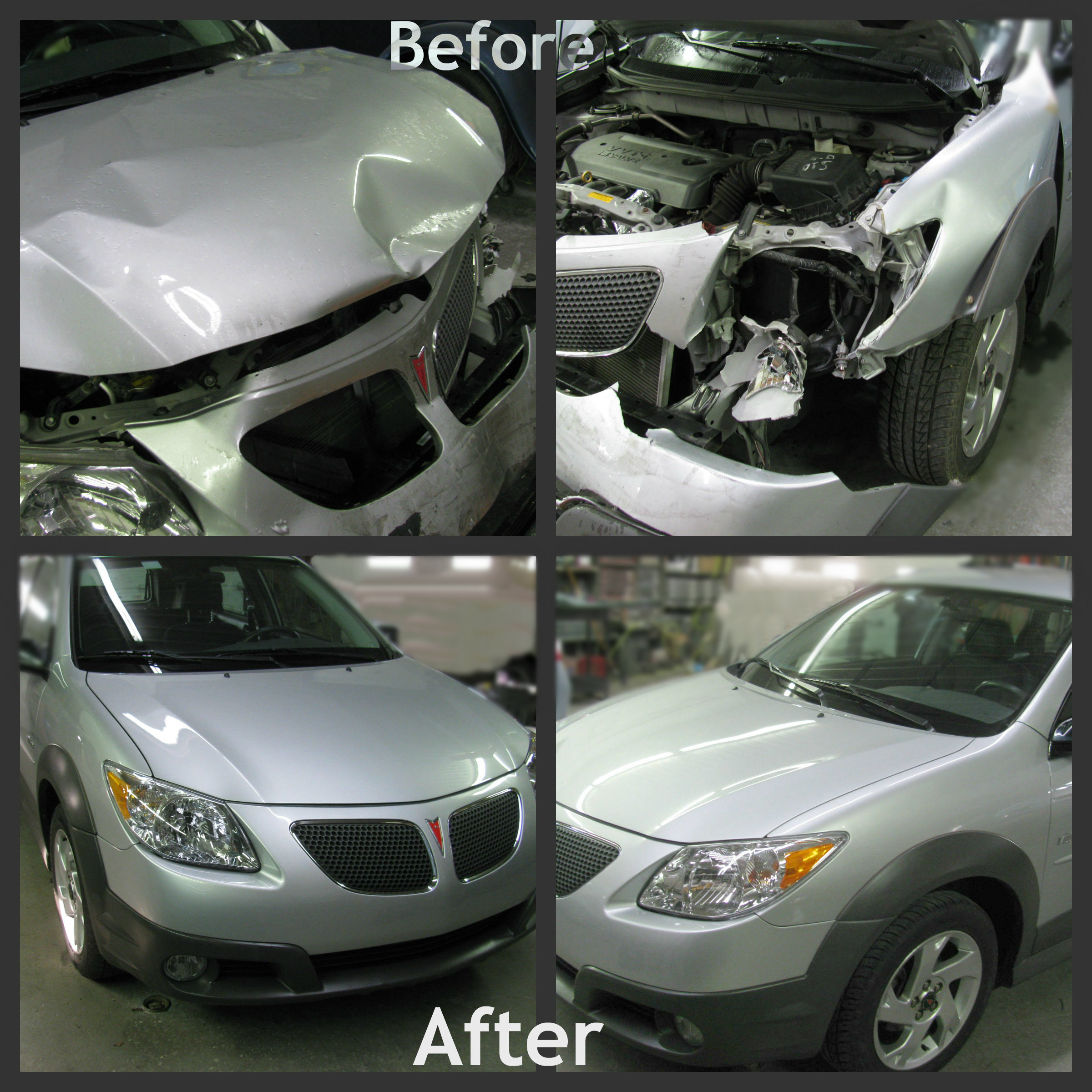 before and after photos of a 2010 pontiac GMC strung together as a collage.
