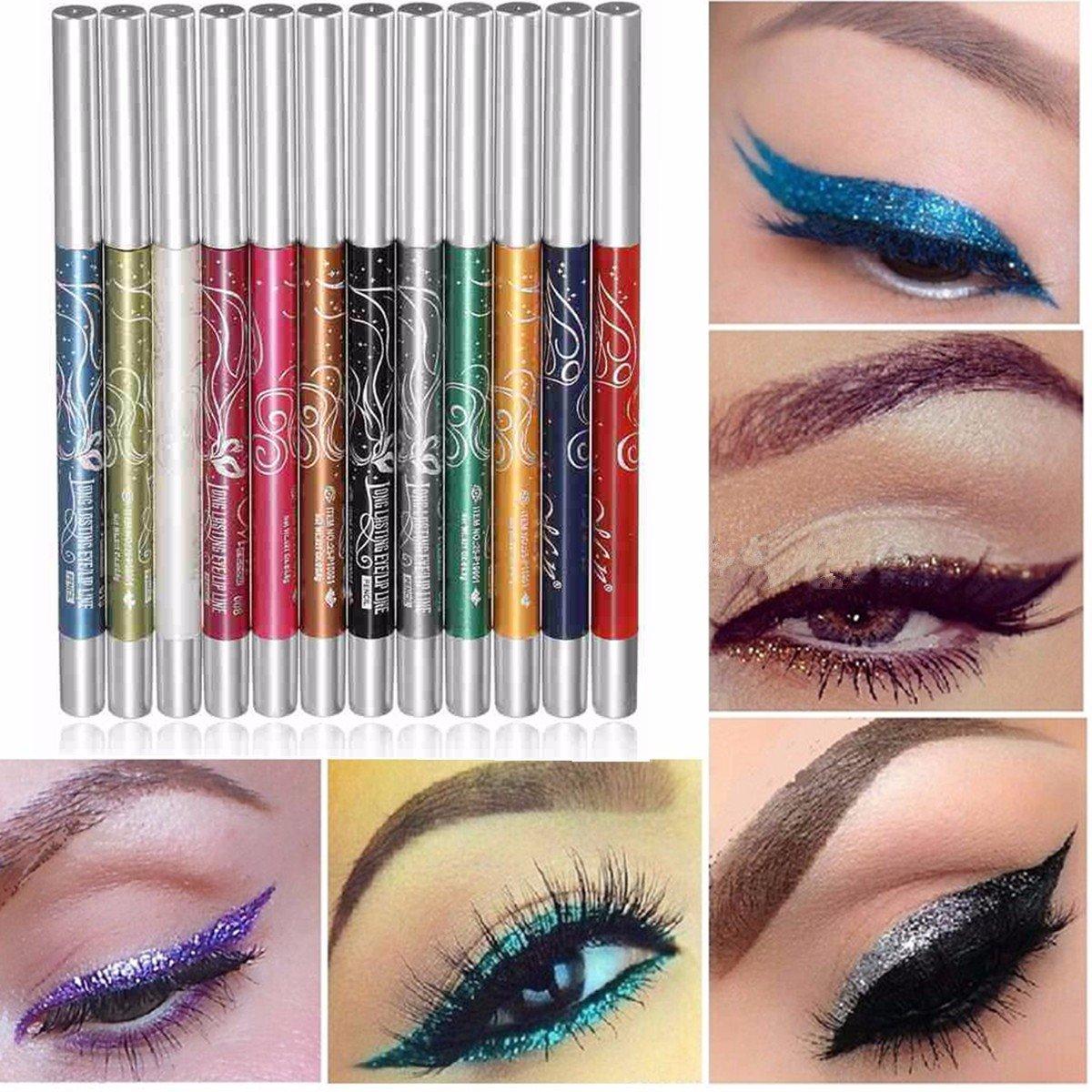 12 Colors Makeup Eye Shadow Eyeliner Lip Liner Pen Beauty Tool Set