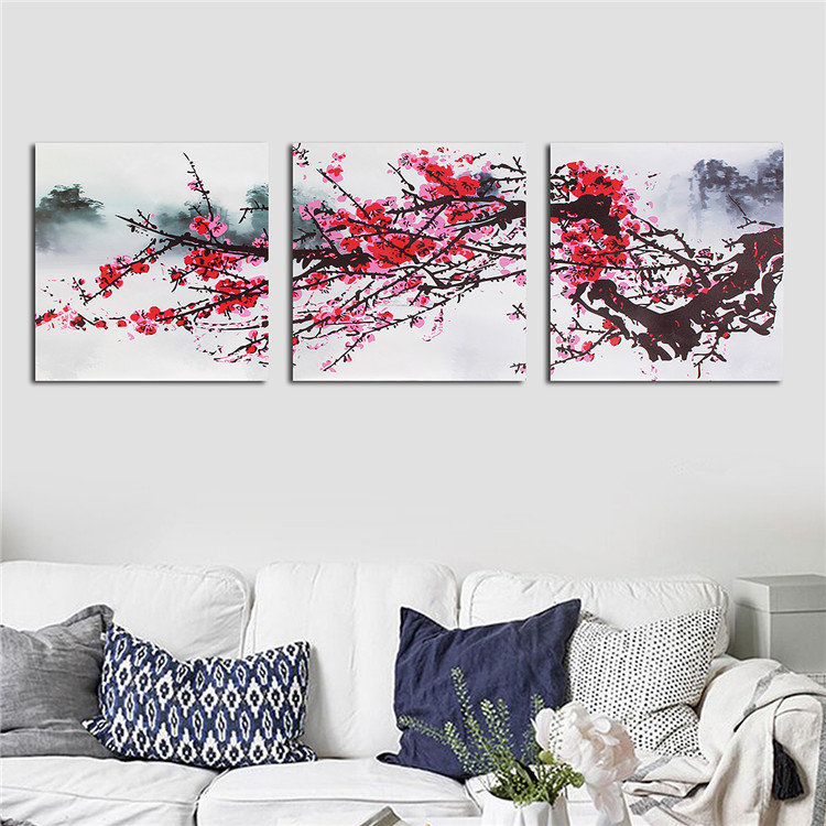 3Pcs Plum Blossom Canvas Painting Frameless Wall Art Picture Print