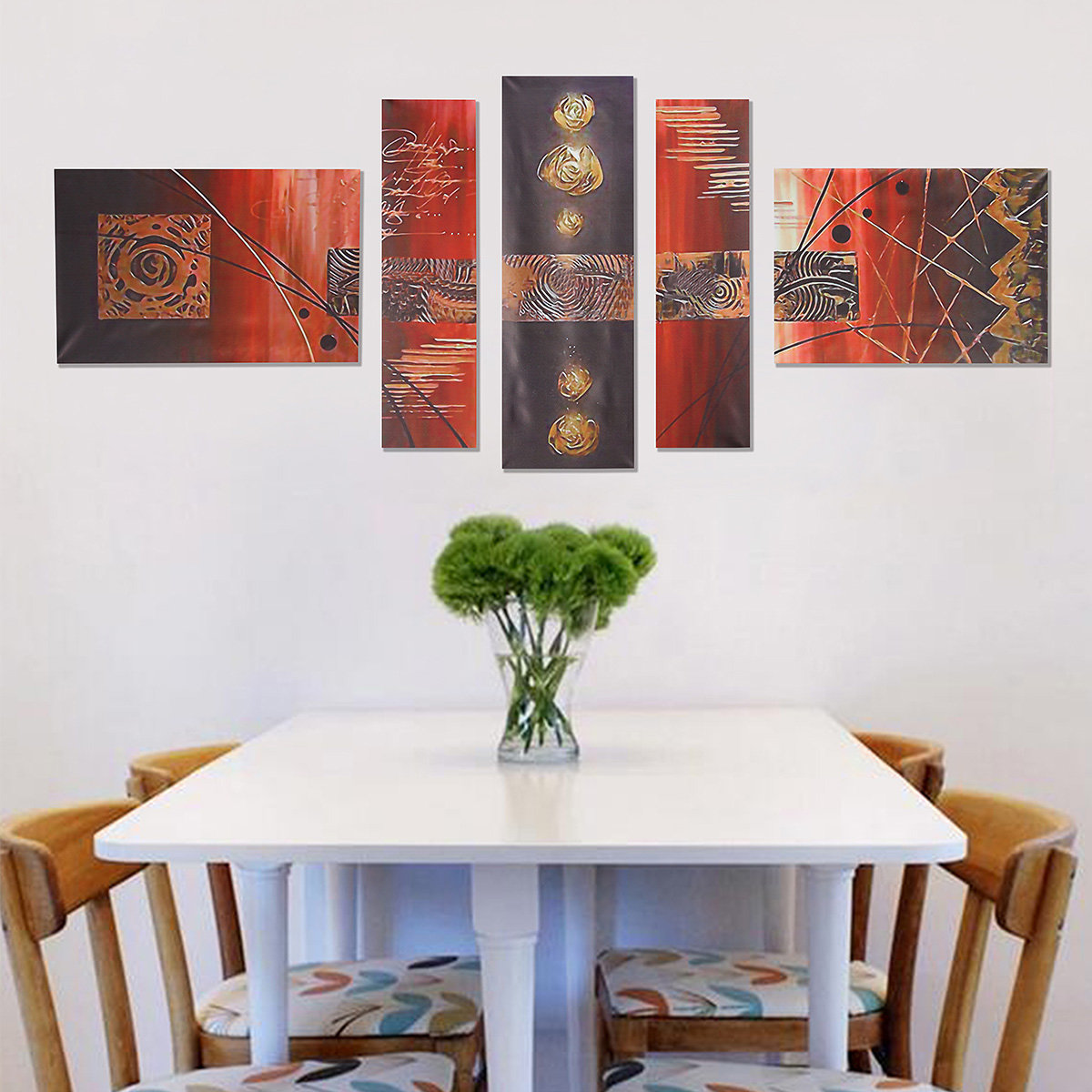 5PCS Unframed Modern Combined Abstract Art Oil Painting Canvas Wall Decor
