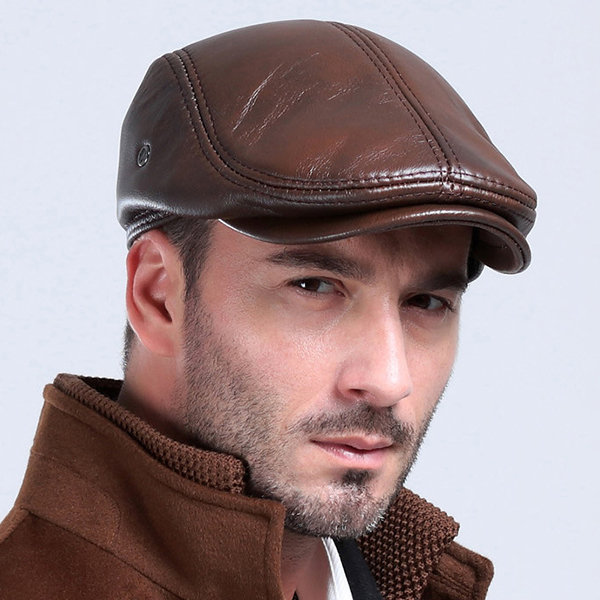 Classic Genuine Men's Cowhide With Ear Flaps Beret