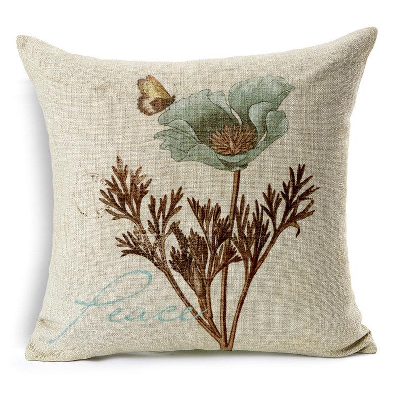 Elegant Flowers Print Cushion Cover Throw Pillowcase