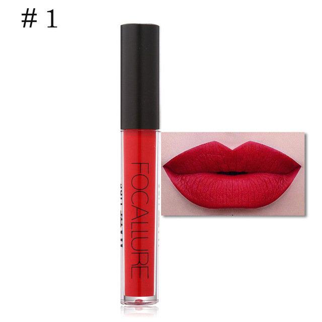 FOCALLURE Matte Metallic Lip Gloss Liquid Lipstick Shimmer Glitter Waterproof Long Lasting
