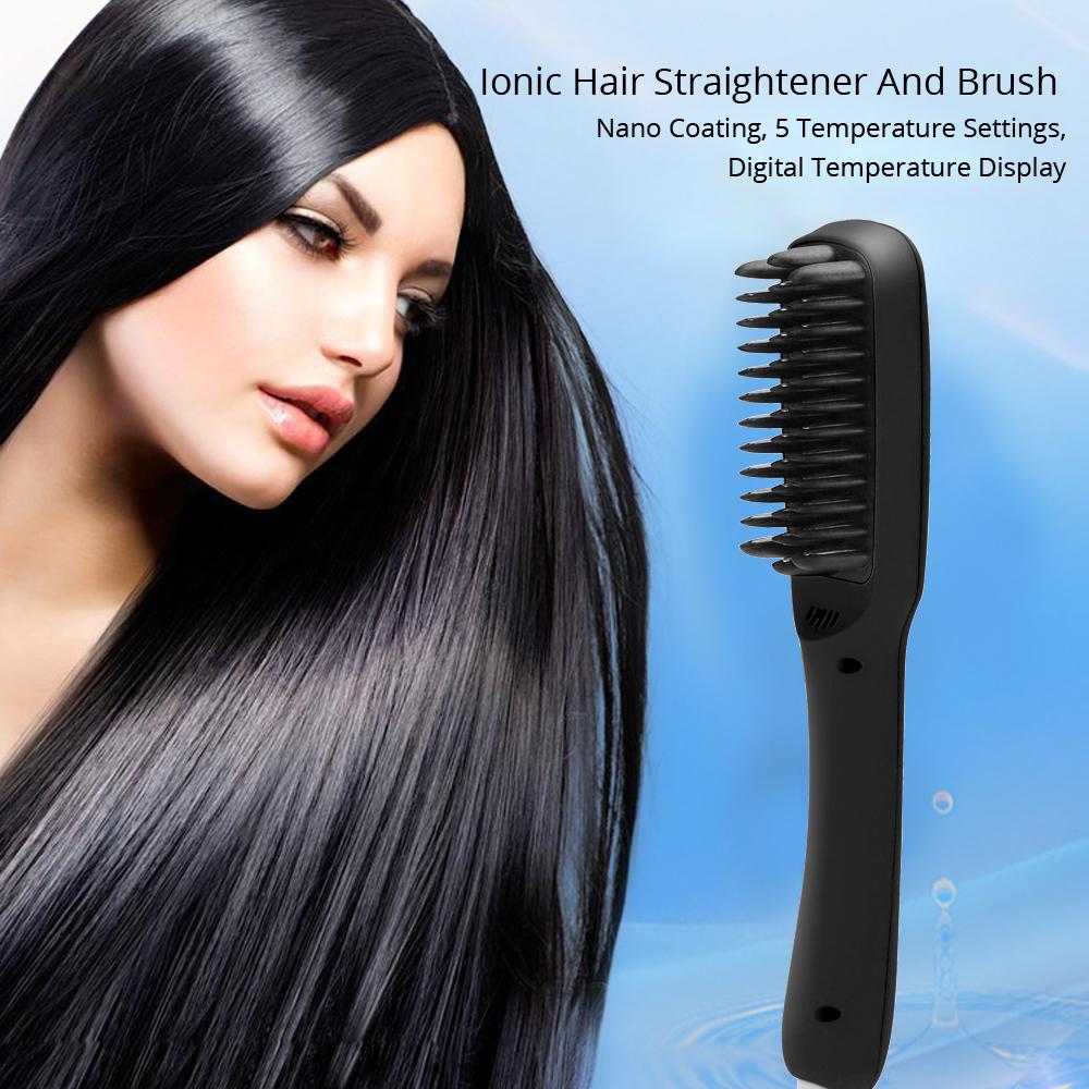 Ionic Hair Straightener and Brush (Black)