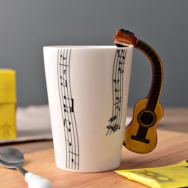 Novelty Guitar Ceramic Music Note Coffee Cup